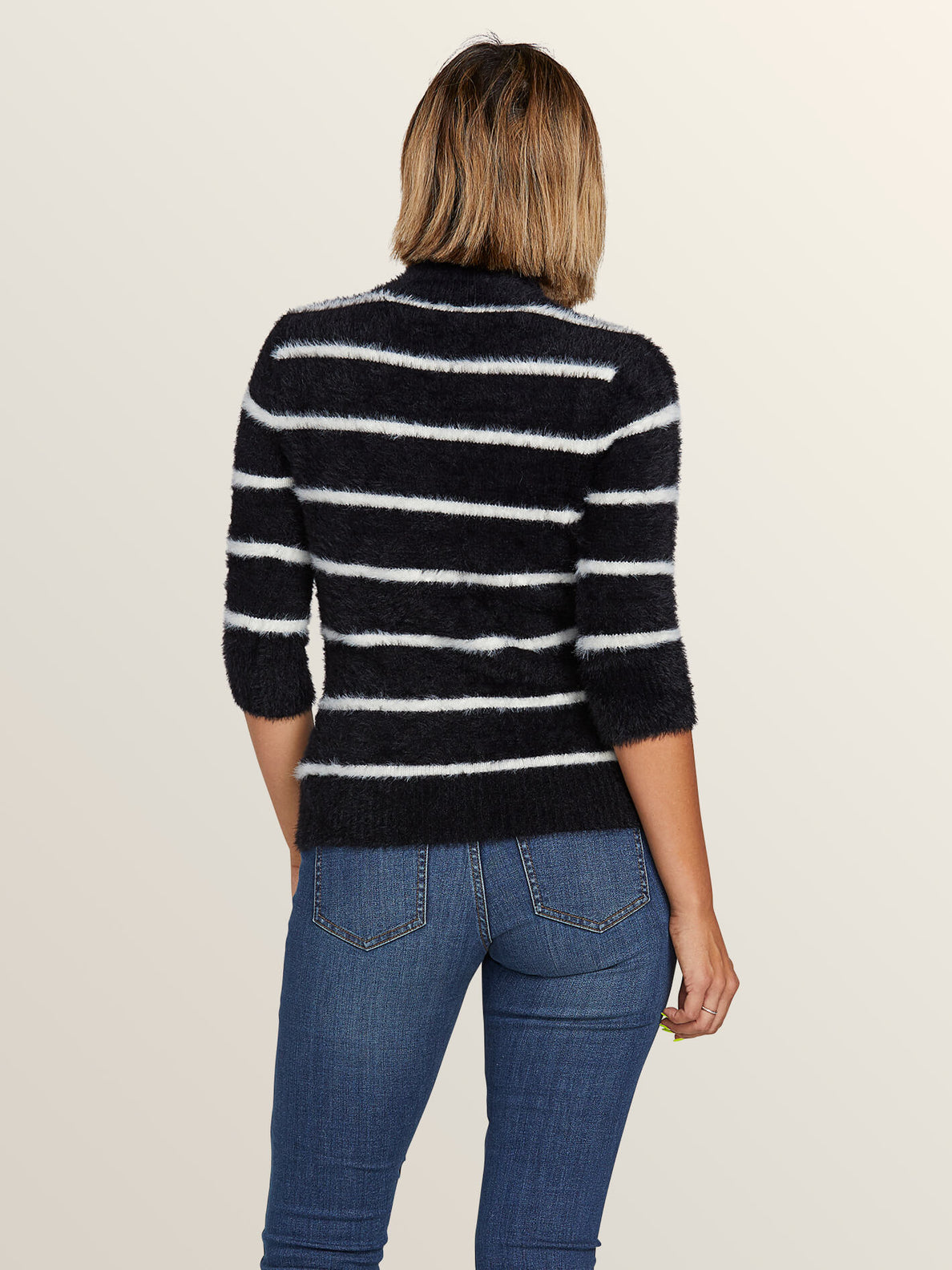 Bunney Riot Sweater In Black White, Back View