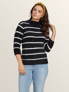 Bunney Riot Sweater In Black White, Front View
