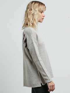 Yarn Moji Sweater In Light Grey, Alternate View
