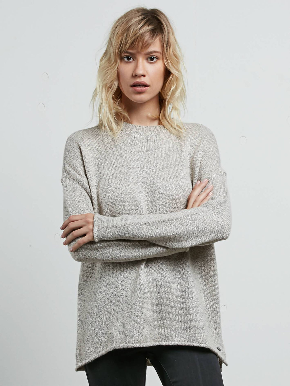 Yarn Moji Sweater In Light Grey, Front View