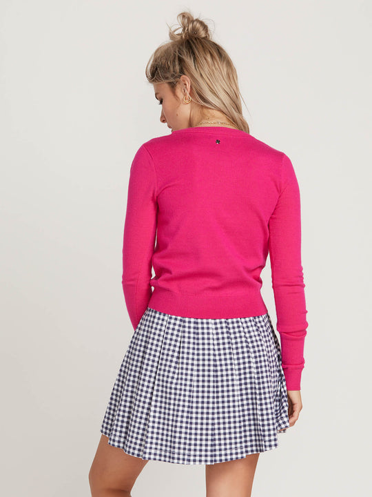 Gmj Heart Sweater In Electric Pink, Back View