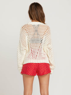 Daze Fly By Sweater In Star White, Back View