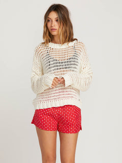 Daze Fly By Sweater In Star White, Front View