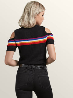 Rainbo Flite Sweater In Black, Back View