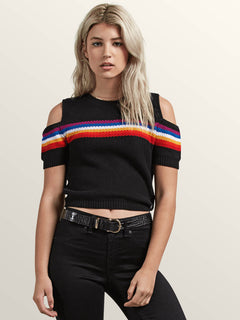 Rainbo Flite Sweater In Black, Front View