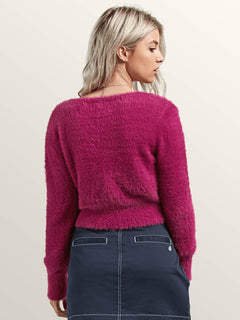 Clued 2 You Sweater In Paradise Purple, Back View