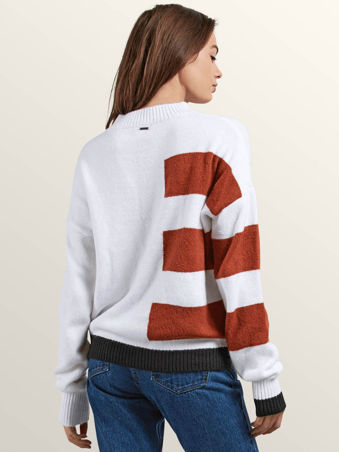 Cold Band Sweater In White, Back View