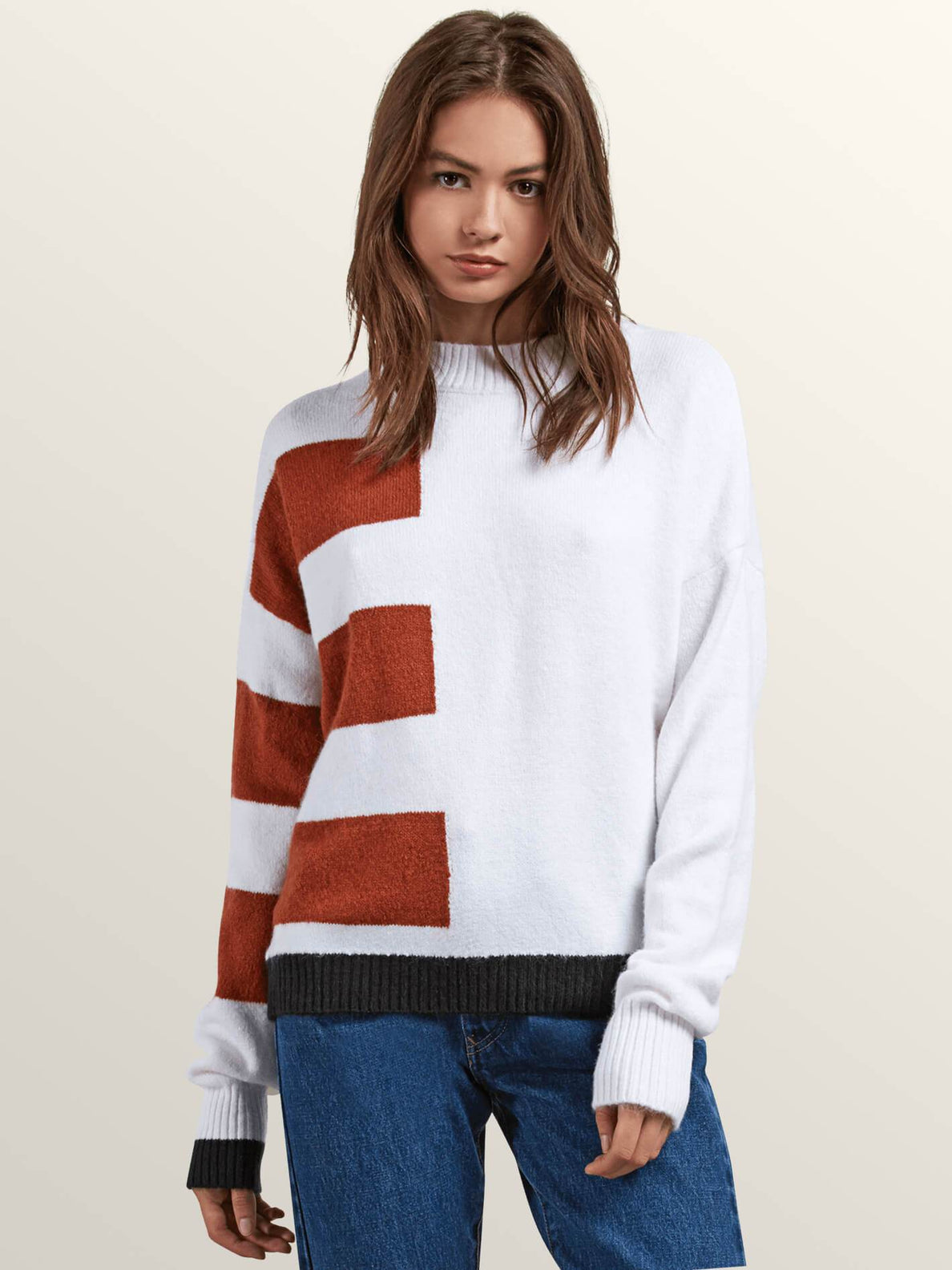 Cold Band Sweater In White, Front View