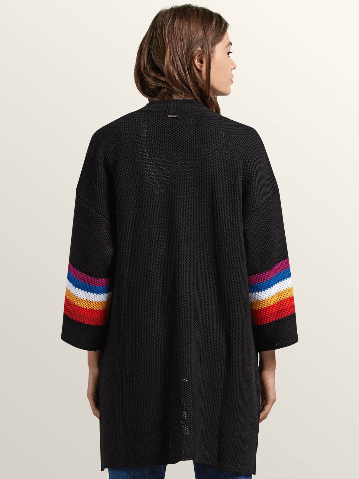 Bah Cardi Sweater In Black, Back View