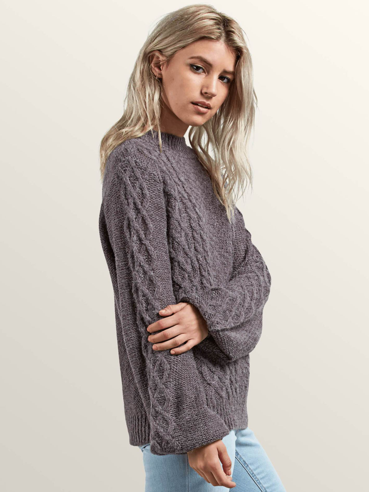 Hellooo Sweater In Heather Grey, Alternate View