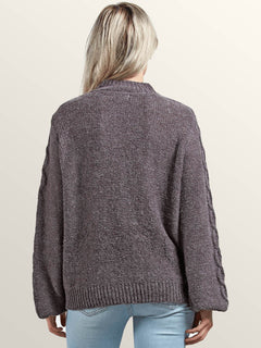Hellooo Sweater In Heather Grey, Back View