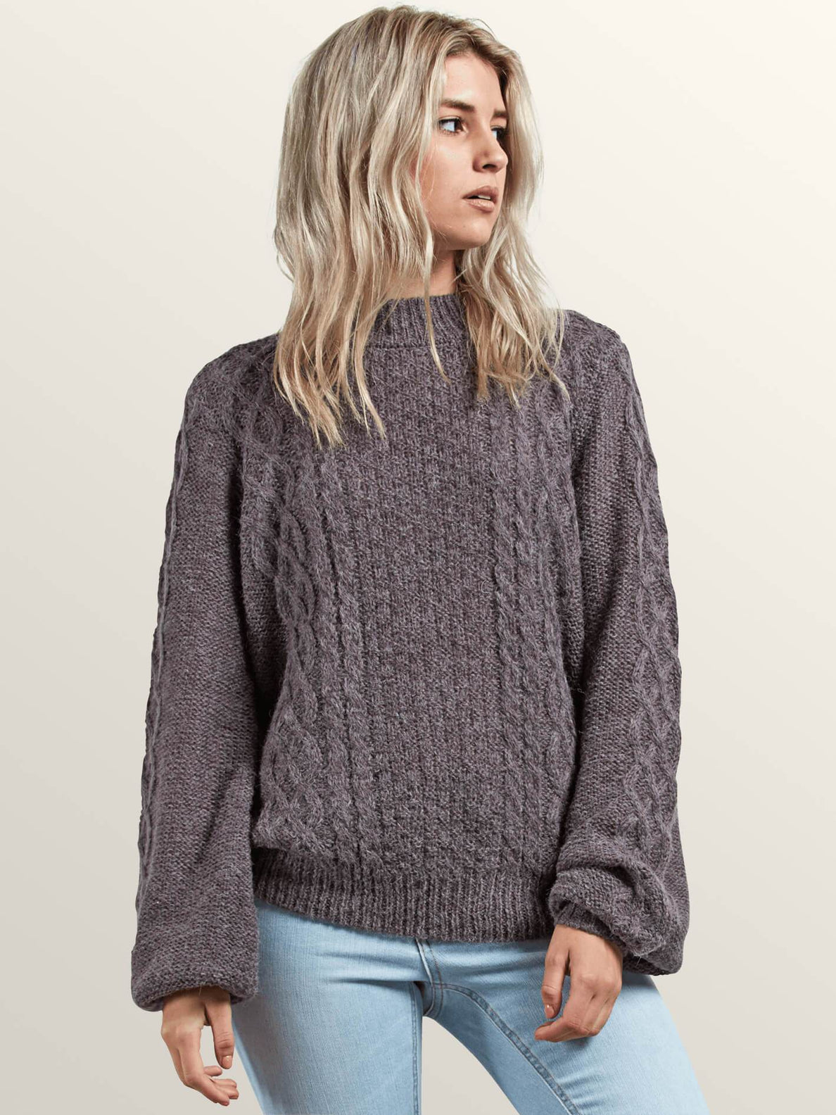 Hellooo Sweater In Heather Grey, Front View