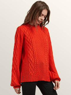 Hellooo Sweater In Tangerine, Alternate View