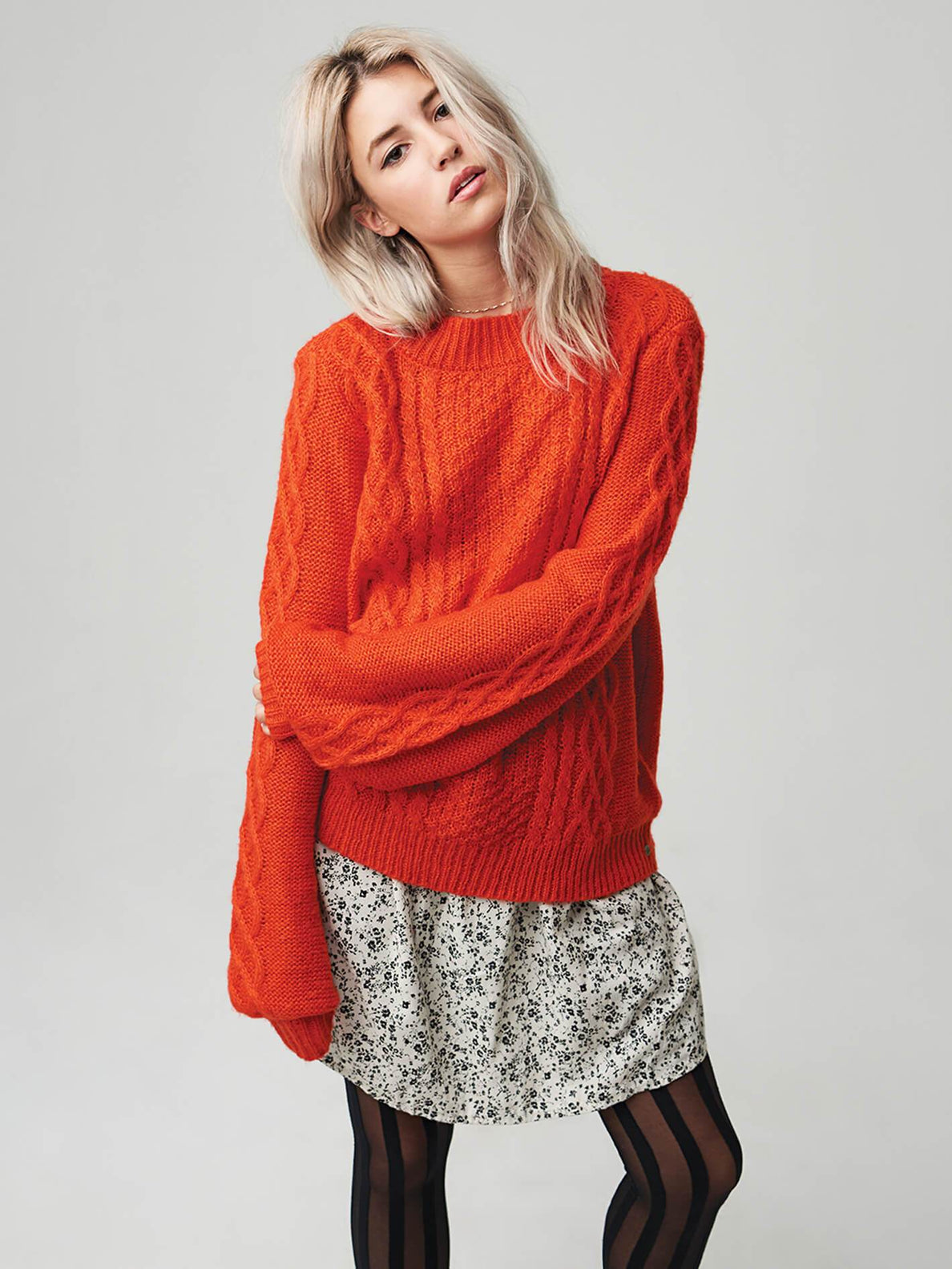 Hellooo Sweater In Tangerine, Second Alternate View