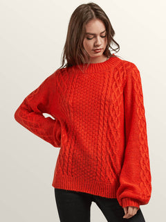 Hellooo Sweater In Tangerine, Front View