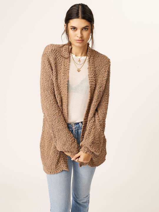 Knitastic Cardigan In Oxford Tan, Front View