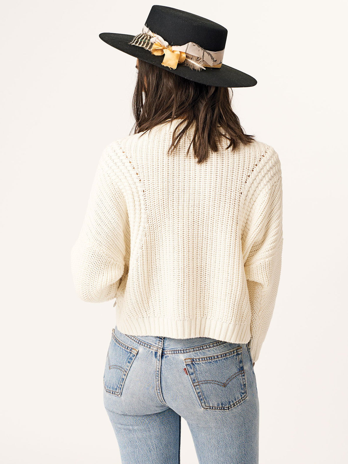 Deep Cable Sweater In Star White, Back View