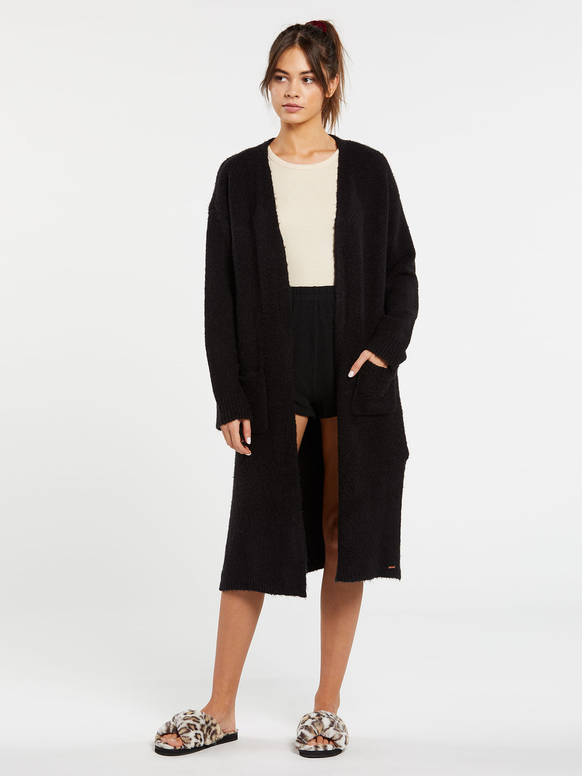 Lived In Lounge Cardigan - Black (B0732006_BLK) [F]
