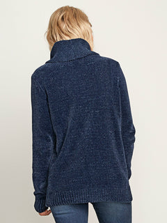 Cozy On Over Sweater In Sea Navy, Back View