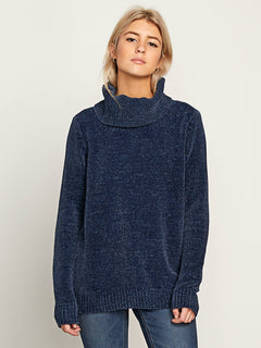 Cozy On Over Sweater In Sea Navy, Front View