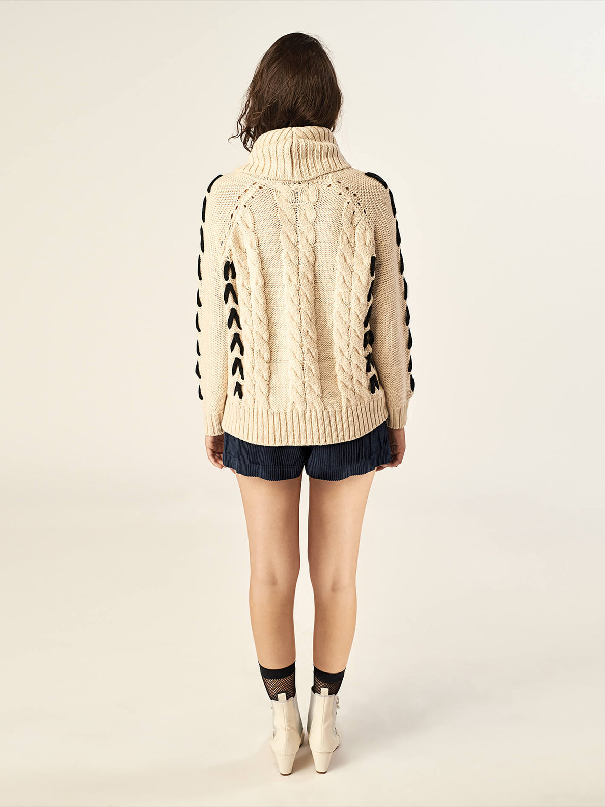 Mad Metallix Sweater In Oatmeal, Back View