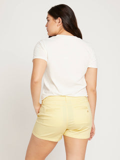 Frochickie Shorts In Faded Lemon, Back Extended Size View