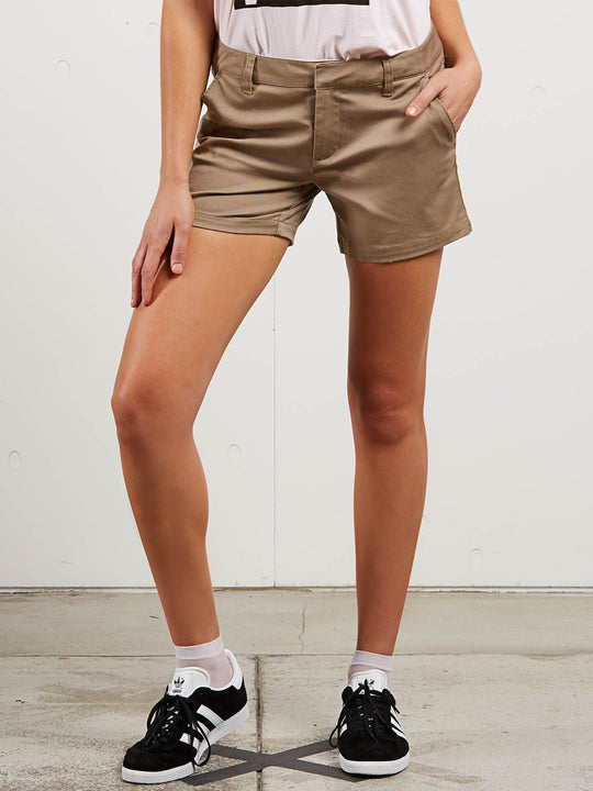 Frochickie Midi Shorts In Khaki, Front View