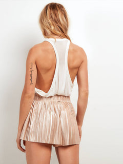 Just Pleat It Shorts In Tan, Back View