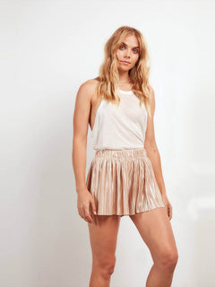 Just Pleat It Shorts In Tan, Front View