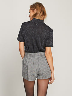 Ur A Plaid Girl Shorts In Black Combo, Back View