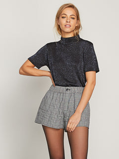Ur A Plaid Girl Shorts In Black Combo, Front View