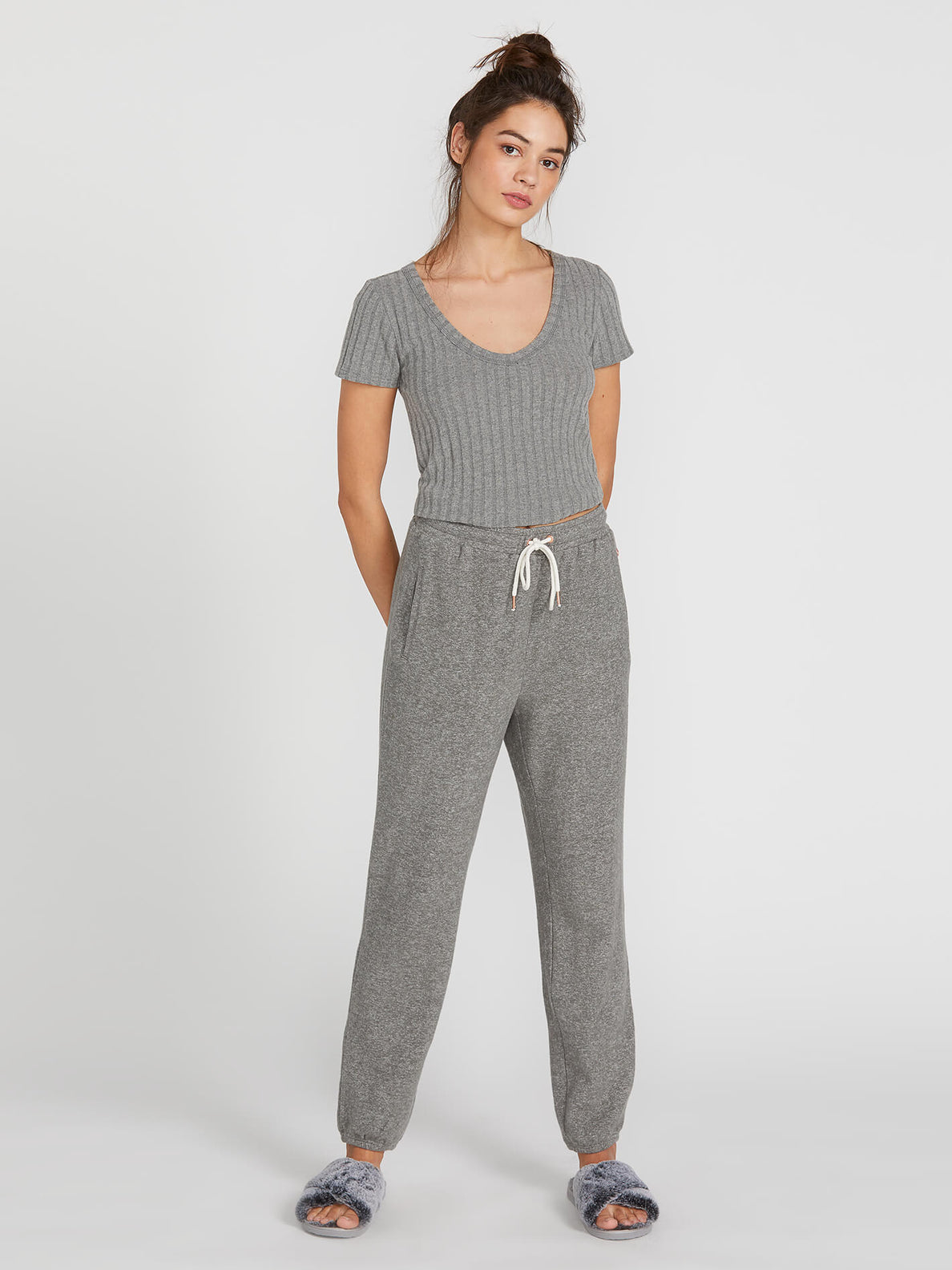 Lived In Lounge Fleece Pants - Charcoal Grey (B1111801_CHR) [F]