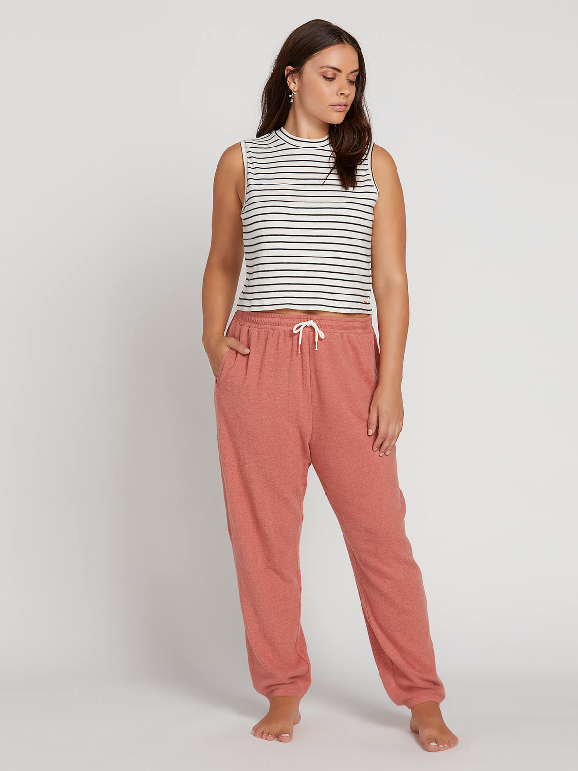 Lived In Lounge Fleece Pants In Mauve, Front Extended Size View