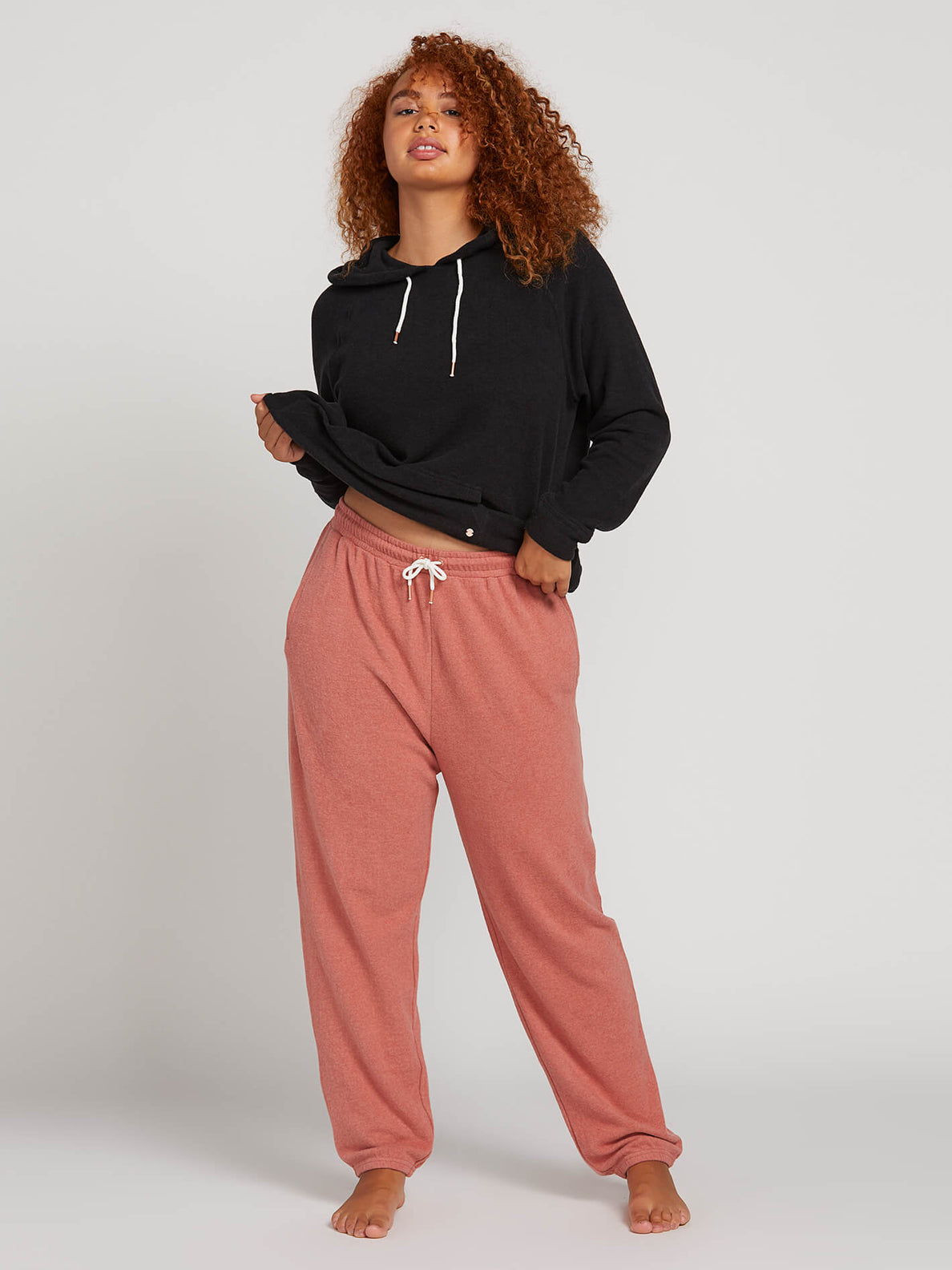 Lived In Lounge Fleece Pants In Mauve, Front Plus Size View