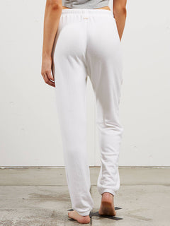 Lil Fleece Pant In White, Back View
