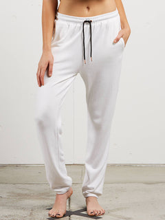 Lil Fleece Pant In White, Front View