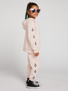 Little Girls Vol Stone Fleece Pants In Mellow Rose, Second Alternate View
