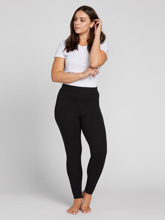 Lived In Lounge Leggings W/ Lace Up Back In Black, Front View