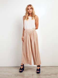 Just Pleat It Pants In Tan, Front View