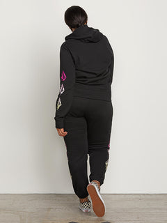Vol Stone Fleece Pants In Black, Back Plus Size View