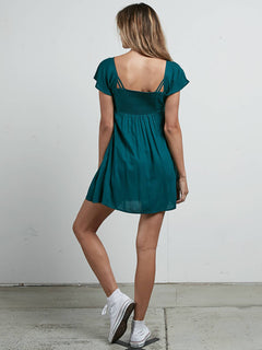 It's A Cinch Dress In Midnight Green, Back View