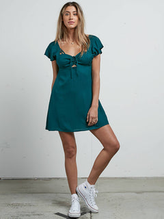 It's A Cinch Dress In Midnight Green, Front View
