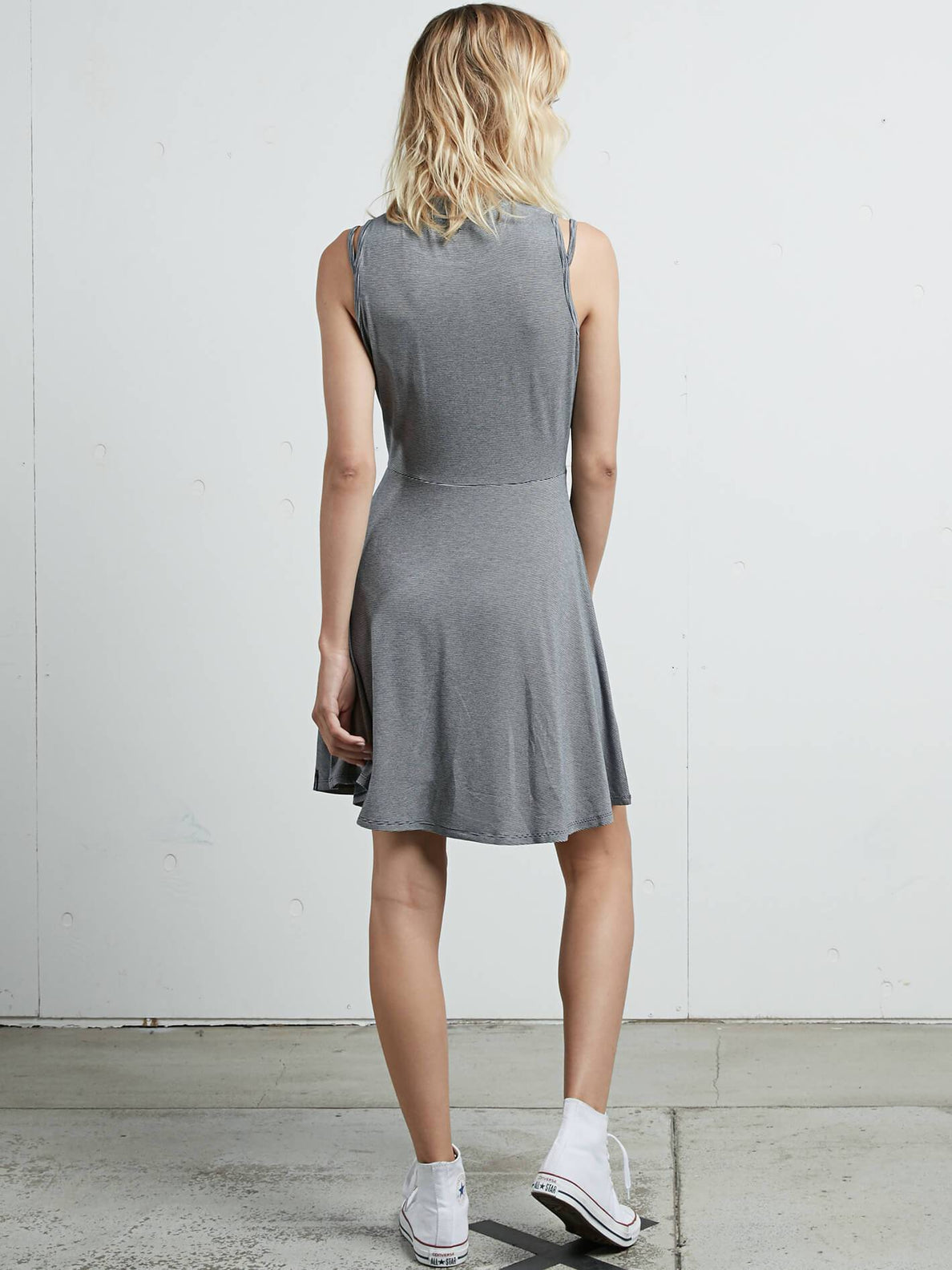 Open Arms Dress In Vintage Navy, Back View