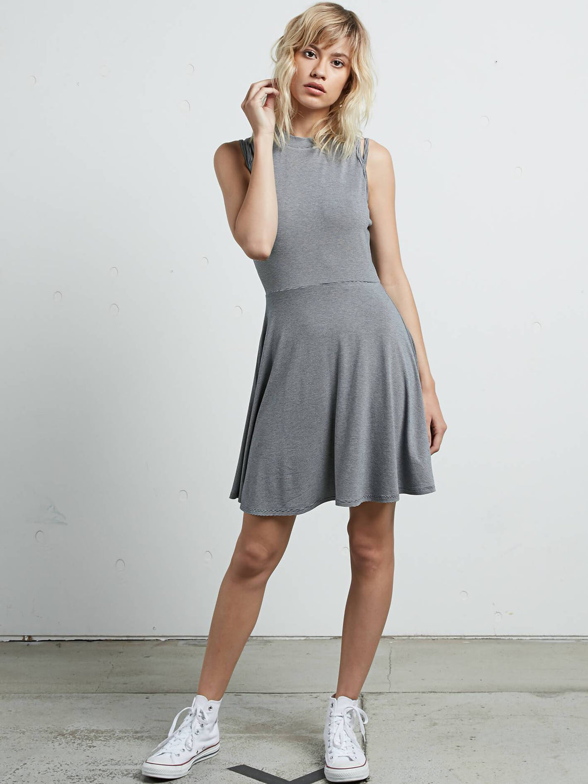 Open Arms Dress In Vintage Navy, Front View