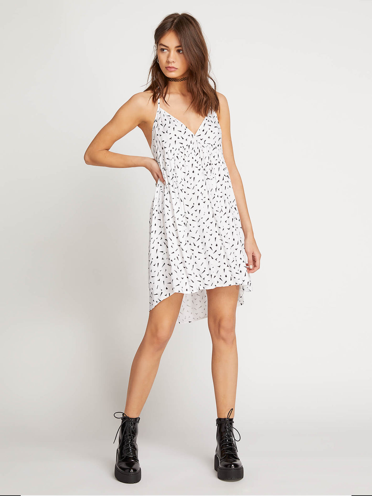 Vol Dot Com Dress In White, Front View