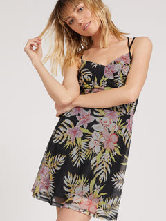 Slushy Hour Dress - Black Floral Print (B1311910_BFP) [F]