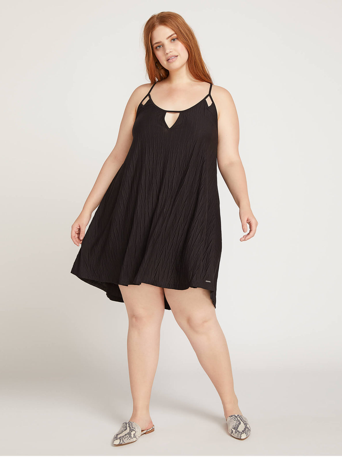 Back 2 Mentality Dress In Black, Front Plus Size View