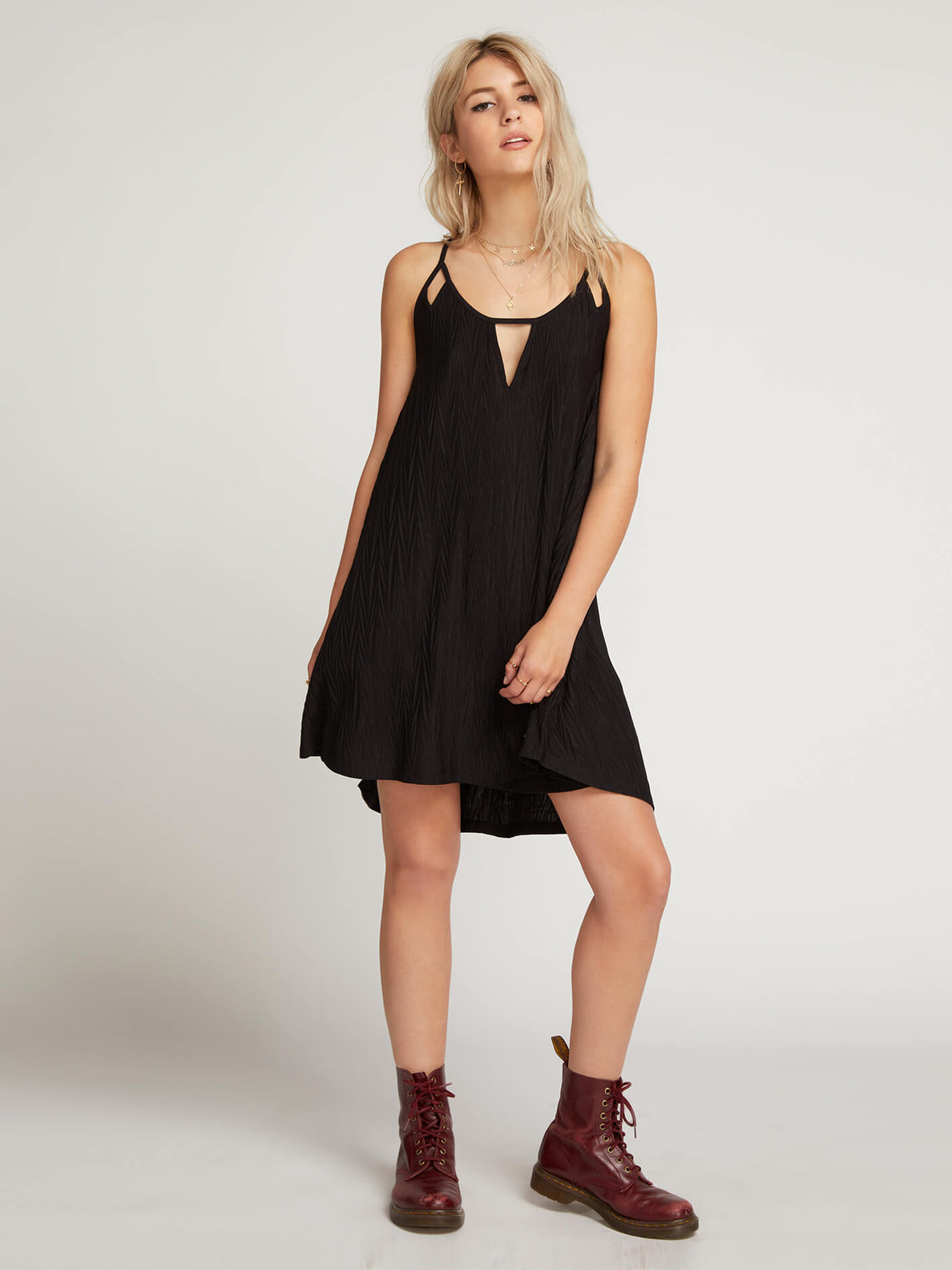 Back 2 Mentality Dress In Black, Front View