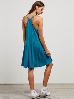 Dessert Vibes Dress In Sea Blue, Back View