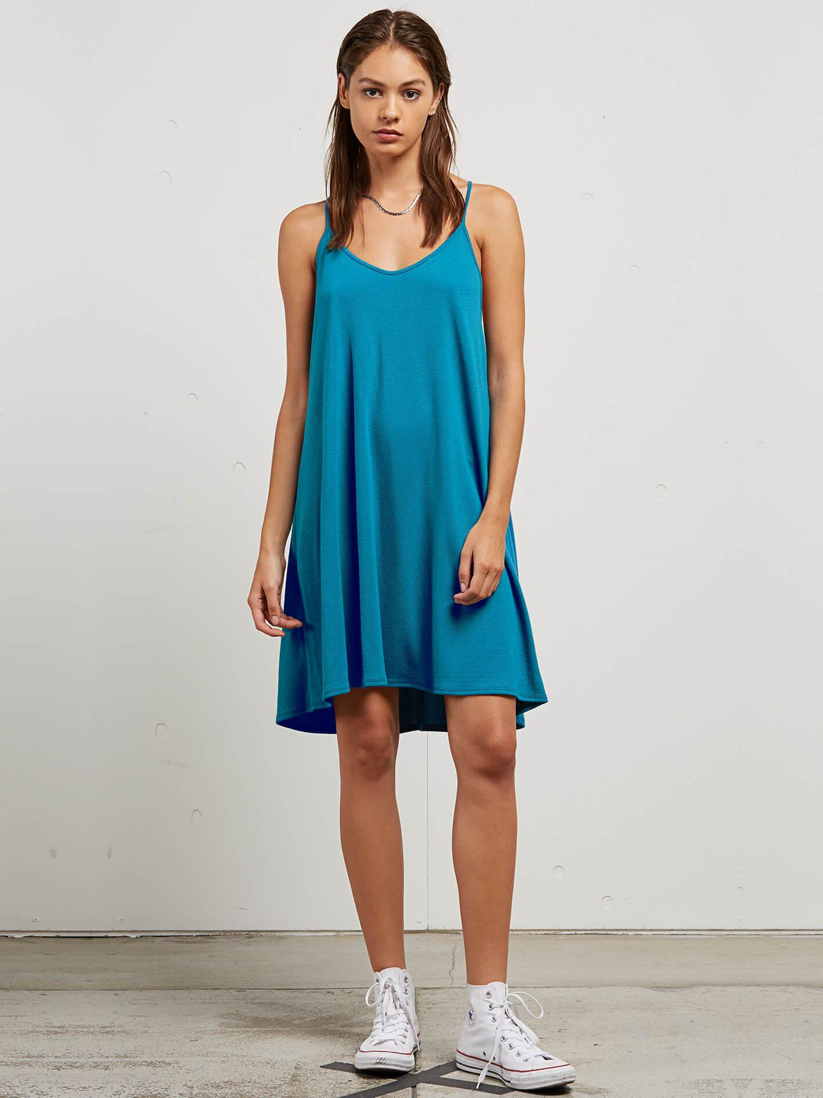 Dessert Vibes Dress In Sea Blue, Front View